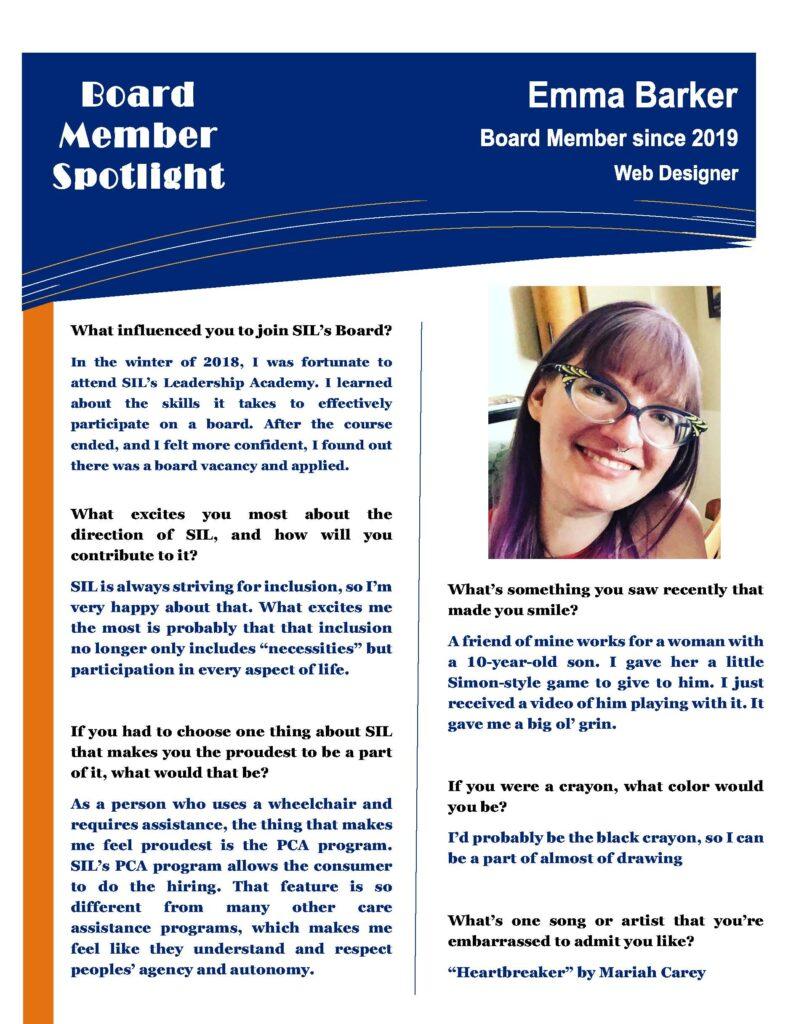 Emma Barker Board Member Spotlight