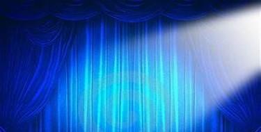 Blue curtain with spotlight